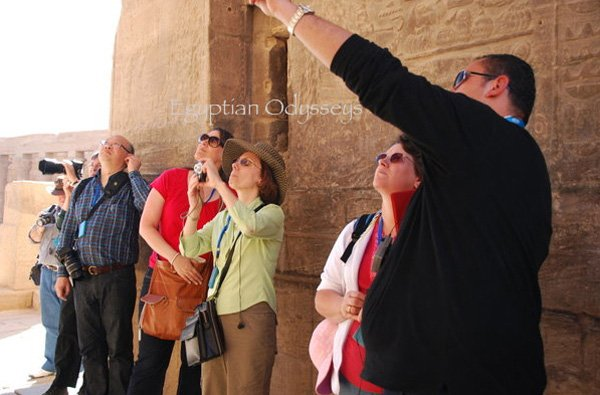 Aswan, Philae Temple: Hazem at work