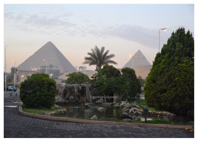 Giza, Le Meridien Pyramids Hotel: a dawn view of the Pyramids