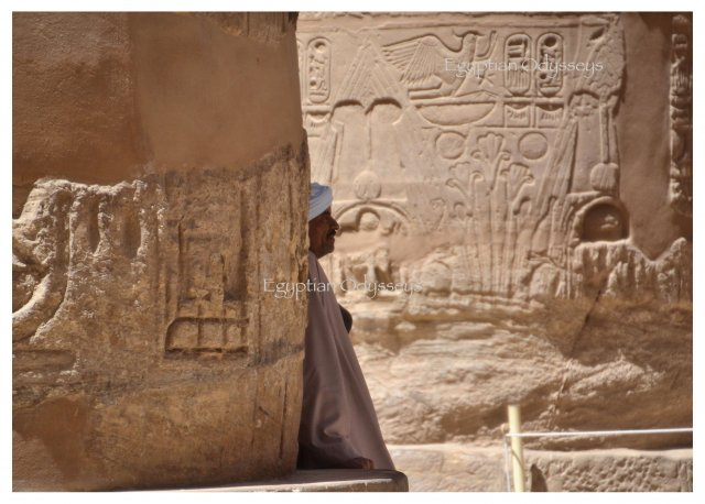 Luxor, Karnak Temple: a local collecting his thoughts in the Great Hypostyle Hall