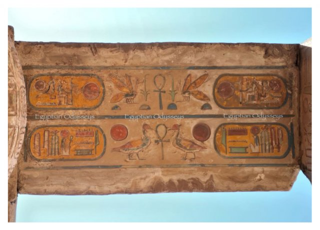 Luxor, Karnak Temple: colourful hieroglyphs on a lintel in the Hypostyle Hal