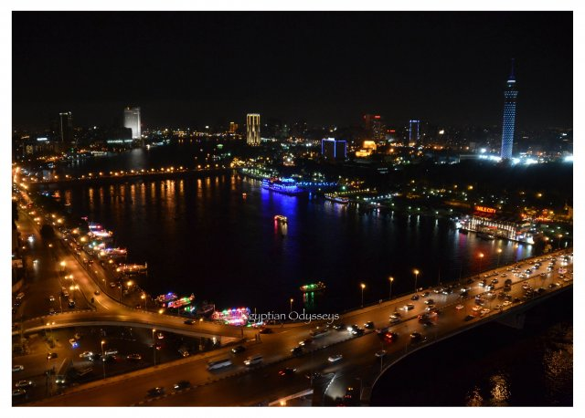 Cairo: the evening view for the Cairo and the Nile from the Ramses Hilton